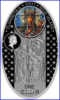 Niue 2011 $1 Gothic Cathedrals Koció Mariacki Silver Proof Coin