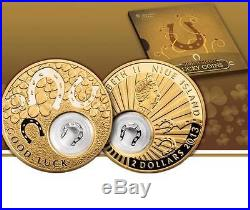 Niue 2012 2$ Lucky coins HORSESHOE 24K Gold Plated 28,28g Silver Coin withFigure