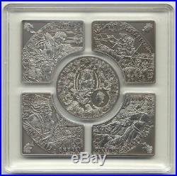 Niue 2012 5 x $1 HORSEMEN OF APOCALYPSE 5 Antique Silver Coin Set