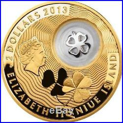 Niue 2013 $2 Lucky Coins FOUR-LEAF CLOVER 28.28 g Gold-Plated Silver Proof Coin