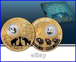 Niue 2013 2$ Lucky coins ELEPHANT 24K Gold Plated 28,28g Silver Coin with Figure