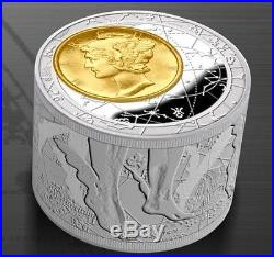 Niue 2013 $50 Fortuna Redux Mercury unique Cylinder Shaped 6oz Proof Silver Coin