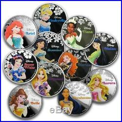 Niue- 2015-2016- Silver $2 Proof Coins- 11 Coin Silver Disney Princess Set