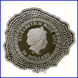 Niue 2016 30$ Mount Shape Vesuvius Volcano 6oz Antique finish Silver Coin