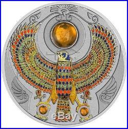 Niue 2017 2$ Falcon of Tutankhamun Amber Horus 2oz Silver Coin