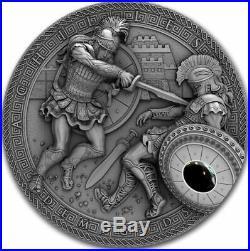 Niue 2017 ACHILLES VS HEKTOR DEMIGODS 2 Oz Silver $2 Coin