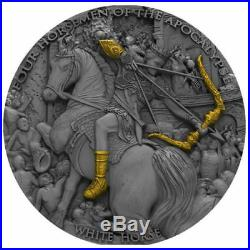 Niue 2018 White Horse Four Horsemen of Apocalypse 2oz 5$ Antique finish Ag Coin