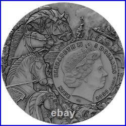 Niue 2020, Black Horse, Four Horsemen of the Apocalypse, 2oz $5 Silver Coin