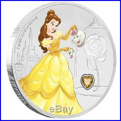 Niue 2 Dollar 2018 Disney Prinzessin Belle Edelsteinserie (2.) 1 Oz Silber PP