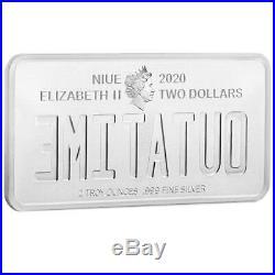 Niue 2 Dollar 2020 Zurück in die Zukunft Nummernschild 1 Oz Silber PP