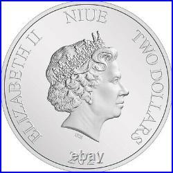 Niue 2 Dollar 2021 Disney Alice in Wonderland Alice 1 Oz Silber AF