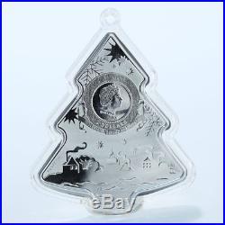 Niue 2 dollars Christmas Tree silver Swarovski gilded 1oz coin 2014