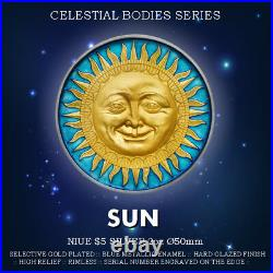 Niue 5$ 2017 Silver/Gold 2oz Ø50 SUN First coin from Celestial Bodies series