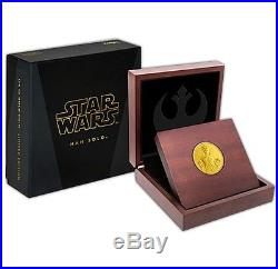 Niue Disney Star Wars $25,1/4 oz. Gold Coin, 2016, Mint, Han Solo, Queen Elizabeth