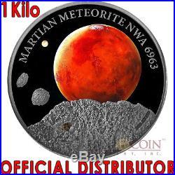 Niue Island 2016 MARS $50 REAL MARTIAN METEORITE NWA 6963 Silver coin 1 KG Kilo