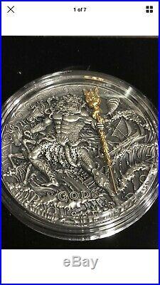 Niue Island 2018 POSEIDON GOD OF SEA series GODS $2 Silver Coin Gold plated 2 oz