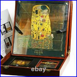 Niue set of 15 coins The Kiss by Gustav Klimt colored silver coins 2015