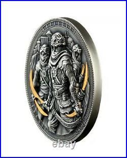 Nizaris Assassins 2019 2 Oz Pure Silver Coin Antique Finish Gold Gilding Niue