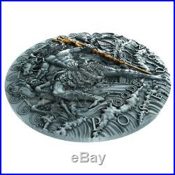 Poseidon 2018 2 Oz Ultra High Relief Silver Coin Greek God Of Oceans Niue