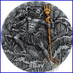 Poseidon God Of The Sea 2 Oz Silver Coin 2$ Niue 2018