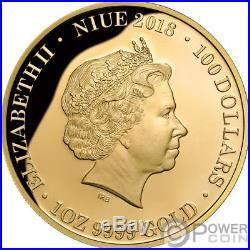 REDBACK SPIDER Deadly Dangerous 1 Oz Gold Coin 100$ Niue 2018