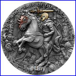 RED HORSE Four Horsemen Of The Apocalypse 2 Oz Silver Coin 5$ Niue 2019