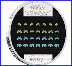 Rare Space Invaders 2018 Niue 1oz Silver Proof Lenticular $2 Coin Arcade Cabinet