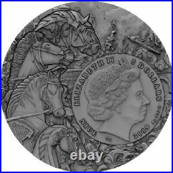 Red Horse Four Horsemen of the Apocalypse Antique finish 2 oz Ag Coin Niue 2018