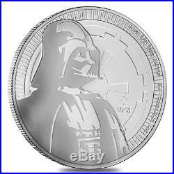Roll of 25 2017 1 oz Niue Silver $2 Star Wars Darth Vader BU (Tube, Lot of 25)