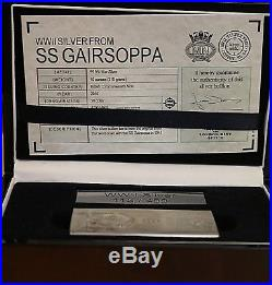 SS GAIRSOPPA ww11 British silver. 99.9% PURE. Ten ounces over 300gm PROOF C/O/A