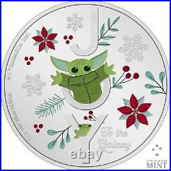 Star Wars Holiday Mandalorian 2021 1 OZ. 999 Silver Proof Coin GROGU The Child