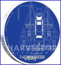 Star Wars Ships T-47 Snowspeeder 1 Oz. Silver Coin Ogp Coa 5th In Set