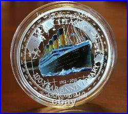 TITANIC RMS 2012 $2NIUE1oz999 PROOF SILVER COIN100TH ANNIVERSARY2229 MINTED