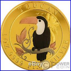 TOUCAN Five Metals Plated 1 Oz Silver Coin 1$ Niue 2018