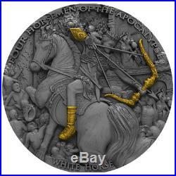 White Horse Four Horsemen of the Apocalypse 2oz Ant fin Silver Coin 5$ Niue 2018