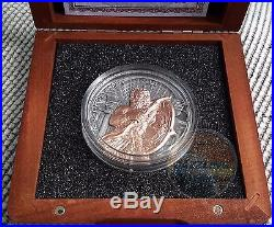 ZEUS Gods of Olympus Rose Gold Plated 2 Oz High Relief Silver Coin 5$ Niue 2017